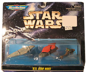 MicroMachines - VII - Mon Calamari Star Cruiser, Jabba Desert Sail Barge, Speeder Bike with Rebel Pilot