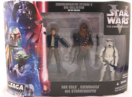Star Wars The Saga Collection Action Figures Commemorative Series: Han Solo - Chewbacca - Stormtrooper