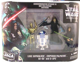 Star Wars The Saga Collection Action Figures Commemorative Series: Luke Skywalker - Emperor Palpatine - R2-D2 - C-3PO