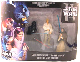 Star Wars The Saga Collection Action Figures Commemorative Series: Luke Skywalker - Darth Vader - Obi-Wan Kenobi