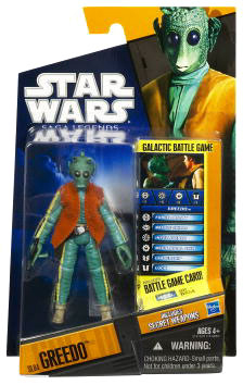 Clone Wars 2010 Black Orange Packaging - Saga Legends - Greedo
