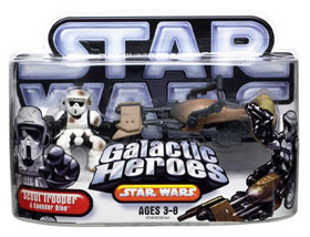 Galactic Heroes Scout Trooper and Speeder Bike SILVER