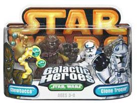 Galactic Heroes Chewbacca and Clone Trooper GOLD