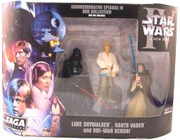 Star Wars The Saga Collection Action Figures Commemorative Series: Luke Skywalker - Darth Vader - Obi-Wan Kenobi