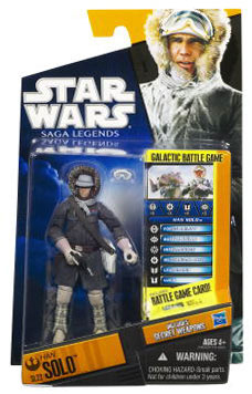 Clone Wars 2010 Black Orange Packaging - Saga Legends - Han Solo in Hoth Gear