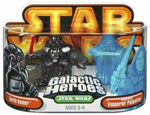 Galactic Heroes: Darth Vader and Holographic Palpatine GOLD