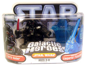 Galactic Heroes: Darth Vader and Holographic Palpatine Silver