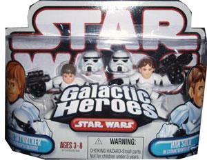 Galactic Heroes Luke Skywalker and Han Solo as Stormtrooper RED BACK