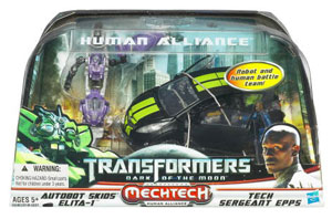 Transformers 3 Movie Human Alliance - Skids and Elita-1 with Sergeant Epps