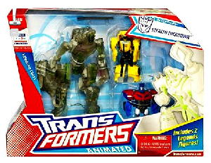 Animated Deluxe - Stealth Lockdown and Legends Bumblebee and Optimus Prime