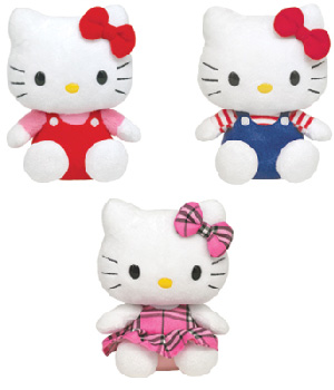 Hello Kitty Set of 3 [Red Overalls, Blue Overalls, Tartan]