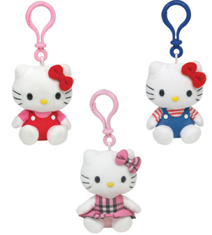 Hello Kitty Set of 3 CLIP [Red Overalls, Blue Overalls, Tartan]